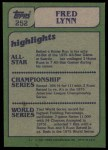 1982 Topps #252   -  Fred Lynn In Action Back Thumbnail