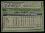 1982 Topps #534  Dave McKay  Back Thumbnail
