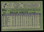 1982 Topps #35  Willie Aikens  Back Thumbnail