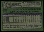 1982 Topps #474  Ken Oberkfell  Back Thumbnail