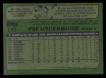 1982 Topps #133  Pat Underwood  Back Thumbnail