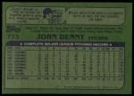 1982 Topps #773  John Denny  Back Thumbnail