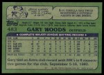 1982 Topps #483  Gary Woods  Back Thumbnail