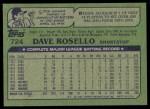 1982 Topps #724  Dave Rosello  Back Thumbnail