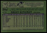 1982 Topps #476  Brian Kingman  Back Thumbnail