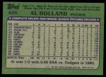 1982 Topps #406  Al Holland  Back Thumbnail