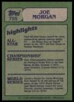 1982 Topps #755   -  Joe Morgan In Action Back Thumbnail