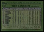 1982 Topps #658  Tito Landrum  Back Thumbnail