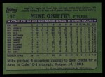 1982 Topps #146  Mike Griffin  Back Thumbnail