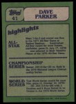 1982 Topps #41   -  Dave Parker In Action Back Thumbnail
