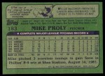 1982 Topps #183  Mike Proly  Back Thumbnail