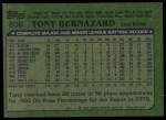 1982 Topps #206  Tony Bernazard  Back Thumbnail