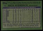 1982 Topps #72  Rick Auerbach  Back Thumbnail