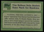 1982 Topps #3   -  Tim Raines  Highlights Back Thumbnail