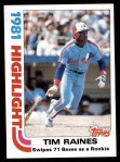 1982 Topps #3   -  Tim Raines  Highlights Front Thumbnail