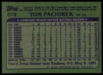 1982 Topps #678  Tom Paciorek  Back Thumbnail