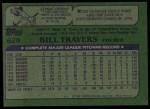 1982 Topps #628  Bill Travers  Back Thumbnail