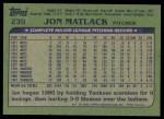 1982 Topps #239  Jon Matlack  Back Thumbnail