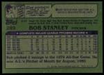 1982 Topps #289  Bob Stanley  Back Thumbnail