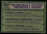 1982 Topps #333   -  Marshall Edwards / Chuck Porter / Frank DiPino Brewers Leaders Back Thumbnail