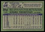 1982 Topps #746  Andre Thornton  Back Thumbnail