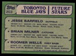 1982 Topps #203   -  David Wells / Jesse Barfield / Brian Milner Blue Jays Rookies Back Thumbnail