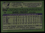 1982 Topps #24  Dave Frost  Back Thumbnail