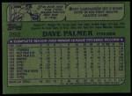 1982 Topps #292  Dave Palmer  Back Thumbnail