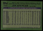 1982 Topps #729  Jim Spencer  Back Thumbnail