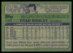 1982 Topps #350  Thad Bosley  Back Thumbnail