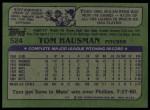 1982 Topps #524  Tom Hausman  Back Thumbnail