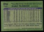 1982 Topps #745  Bake McBride  Back Thumbnail