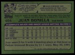 1982 Topps #464  Juan Bonilla  Back Thumbnail