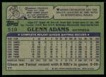 1982 Topps #519  Glenn Adams  Back Thumbnail