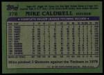 1982 Topps #378  Mike Caldwell  Back Thumbnail