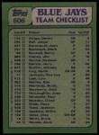 1982 Topps #606   -  John Mayberry / Dave Steib Blue Jays Leaders Back Thumbnail