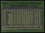 1982 Topps #42  Rick Sofield  Back Thumbnail