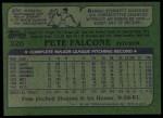 1982 Topps #326  Pete Falcone  Back Thumbnail