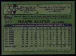 1982 Topps #233  Duane Kuiper  Back Thumbnail