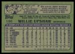 1982 Topps #196  Willie Upshaw  Back Thumbnail