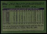1982 Topps #402  Bill Stein  Back Thumbnail