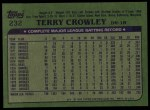 1982 Topps #232  Terry Crowley  Back Thumbnail