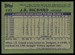 1982 Topps #190  J.R. Richard  Back Thumbnail