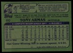 1982 Topps #60  Tony Armas  Back Thumbnail