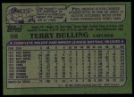 1982 Topps #98  Terry Bulling  Back Thumbnail
