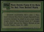 1982 Topps #2   -  Ron Davis  Highlights Back Thumbnail