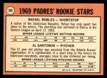1969 Topps #592   -  Al Santorini /  Rafael Robles Padres Rookies  Back Thumbnail
