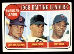 1969 Topps #1   -  Carl Yastrzemski / Danny Cater / Tony Oliva AL Batting Leaders Front Thumbnail
