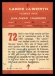 1963 Fleer #72  Lance Alworth  Back Thumbnail
