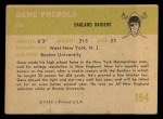 1961 Fleer #194  Gene Prebola  Back Thumbnail